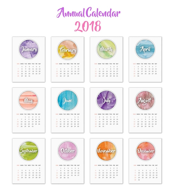 Calendrier 2018 Design Aquarelle T 233 L 233 Charger Des
