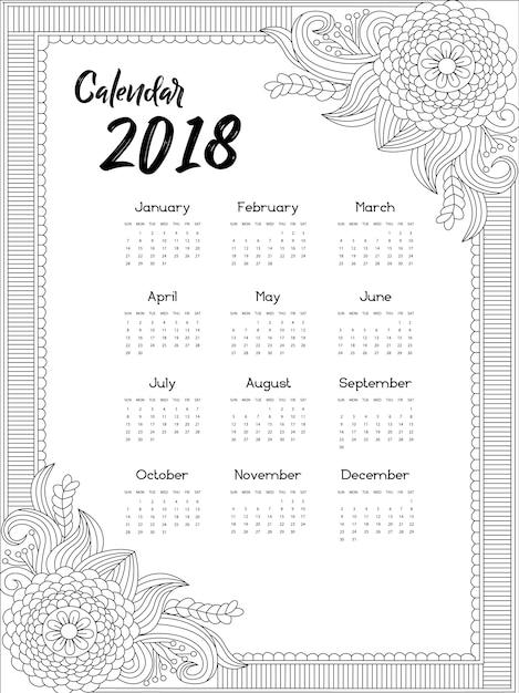 Calendrier 2018 design ornemental t l charger des - Calendrier design ...