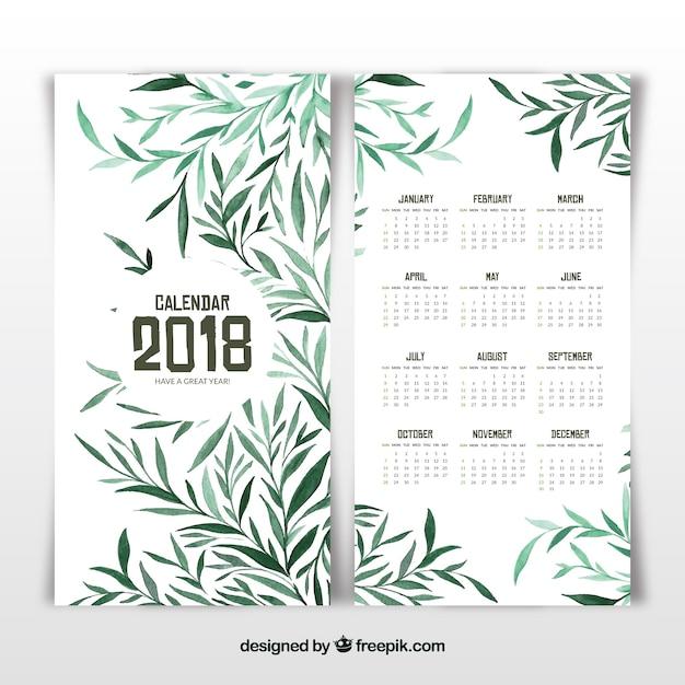 Calendrier 2018 avec des feuilles vertes Vecteur gratuit