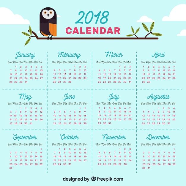 Calendrier 2018 avec hibou Vecteur gratuit
