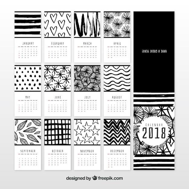 Calendrier 2018 noir et blanc Vecteur gratuit