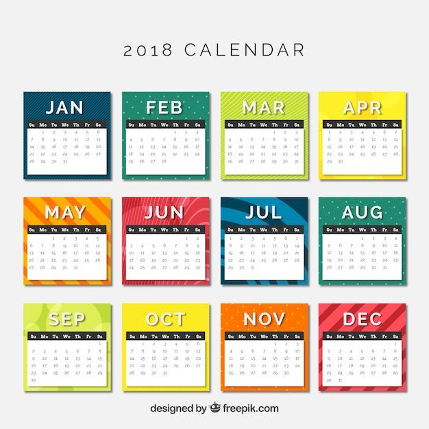 Calendrier 2018 Vecteur gratuit