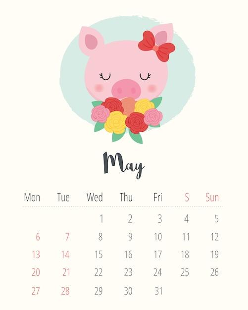 Mai Calendrier 2019.Calendrier 2019 Cochon Mignon Le Mois De Mai