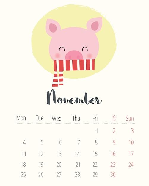 Calendrier Mois De Novembre 2019.Calendrier 2019 Cochon Mignon Mois De Novembre