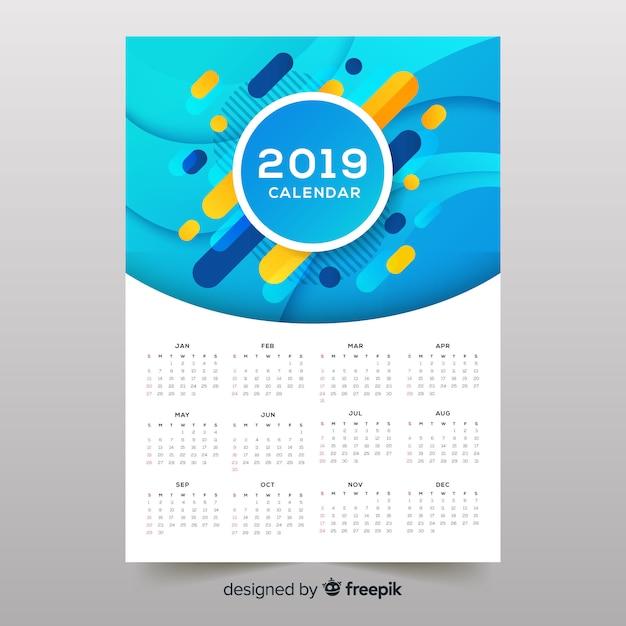 Calendrier 2019 de formes abstraites colorées Vecteur gratuit