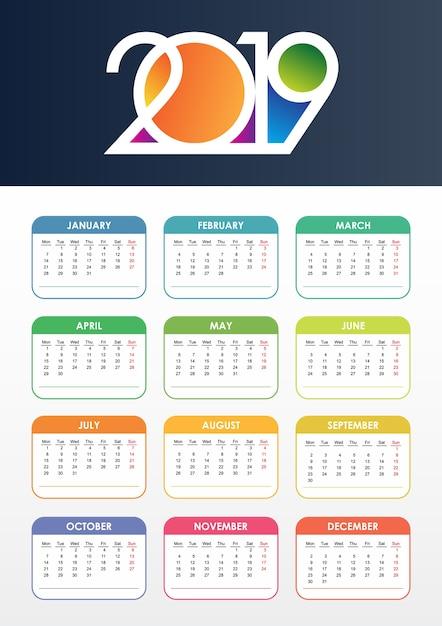 Calendrier 2019 Fete.Calendrier 2019 Vector Telecharger Des Vecteurs Premium