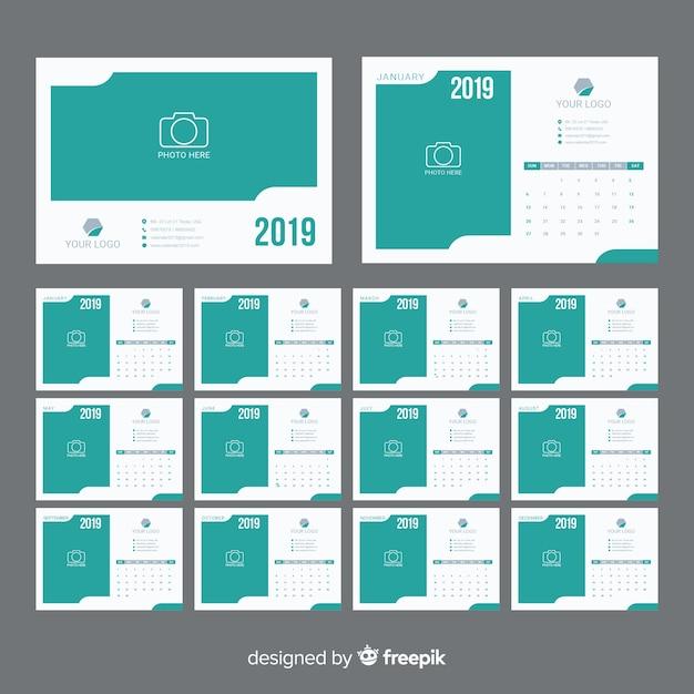 Calendrier 2019 Vecteur Premium