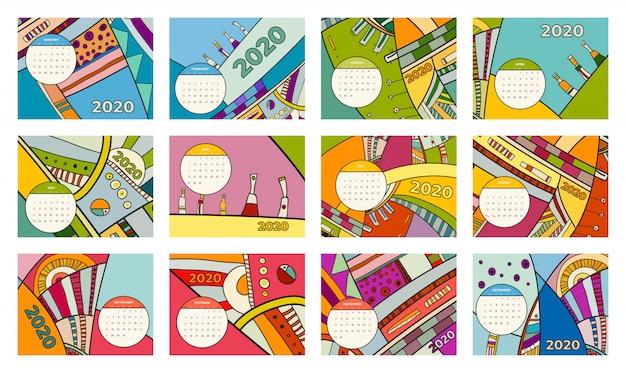 Calendrier 2020 Abstrait Art Contemporain Vector Set. Bureau, écran, Mois De Bureau 2020, Modèle De Calendrier 2020 Coloré Vecteur Premium