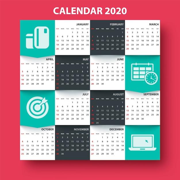 Calendrier 2020 Vectoriel Gratuit.Calendrier 2020 Annee Modele D Affaires Telecharger Des