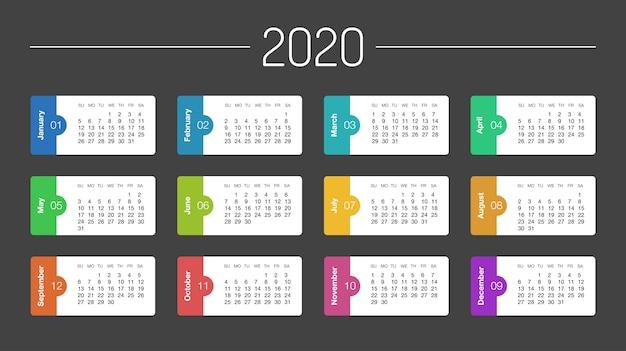 Calendrier 2020 Calendrier Planificateur De Jour De L'année Dans Ce Minimaliste Vecteur Premium