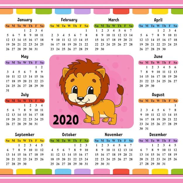 Calendrier 2020 avec lion mignon Vecteur Premium