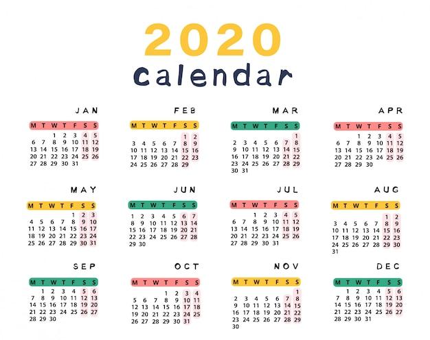 Calendrier Coupe Du Monde 2020 A Imprimer.Calendrier 2020 Pret A Imprimer Telecharger Des Vecteurs