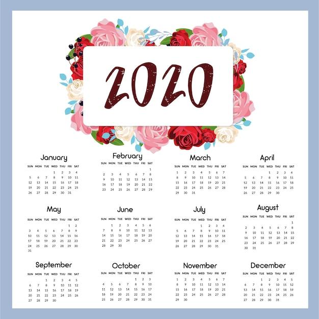 Calendrier 2020 Vectoriel Gratuit.Calendrier 2020 Pret A Imprimer Telecharger Des Vecteurs