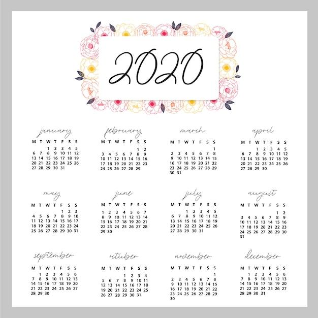 Calendrier 2020 prêt à imprimer Vecteur Premium