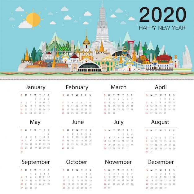 Calendrier 2020 trendy. bienvenue en thaïlande et dans les monuments Vecteur Premium