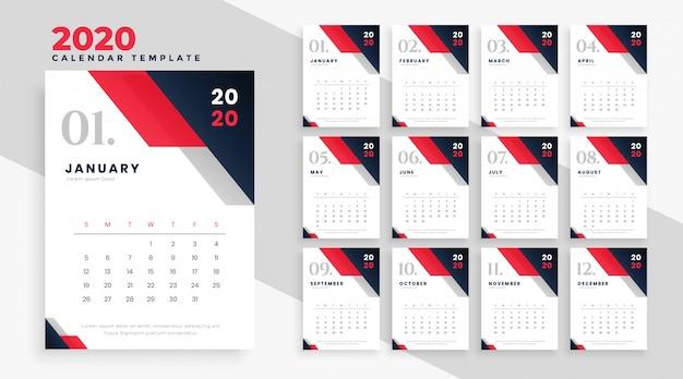 Calendrier 2020 Vecteur gratuit