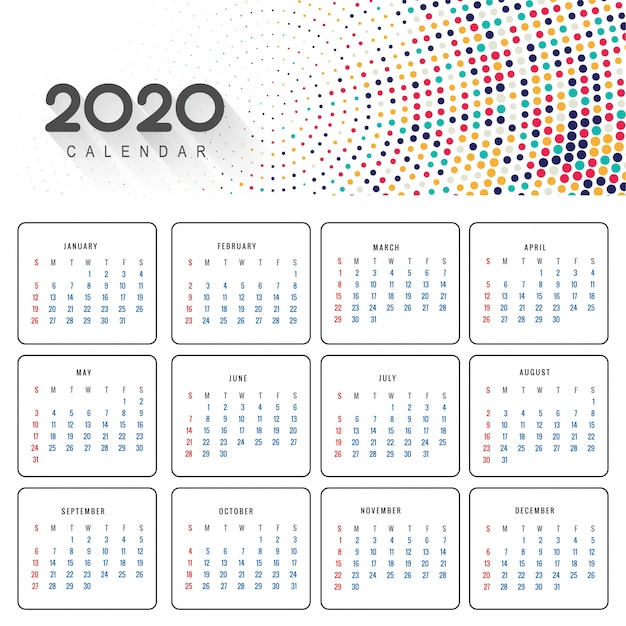 Calendrier 2020 Gratuit.Calendrier 2020 Telecharger Des Vecteurs Gratuitement