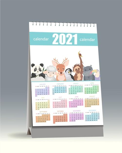 Calendrier 2021. Calendrier 2021 Mignon Pour Les Enfants   Vecteur