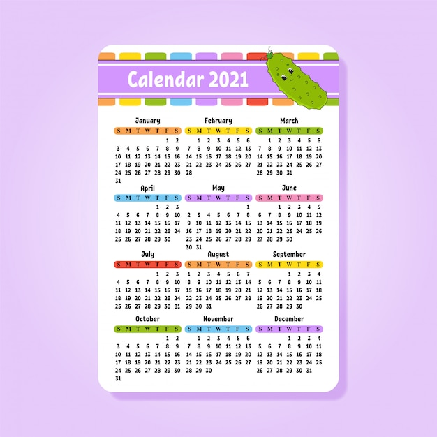 Calendrier 2021 Joli Calendrier 2021 Avec Un Joli Personnage. | Vecteur Premium
