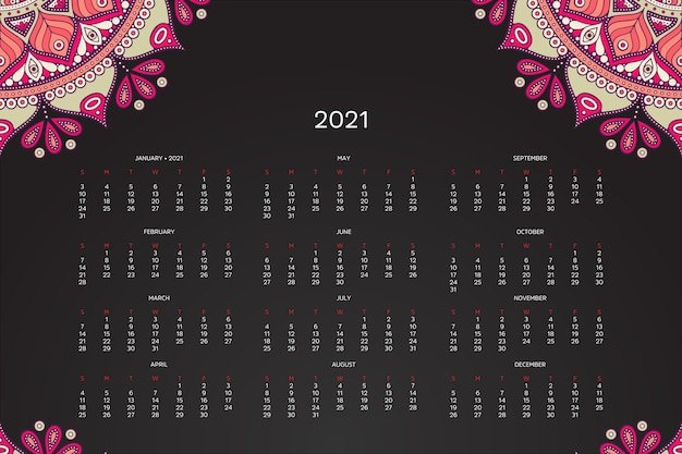 Calendrier 2021 Avec Mandala Oriental Vecteur gratuit