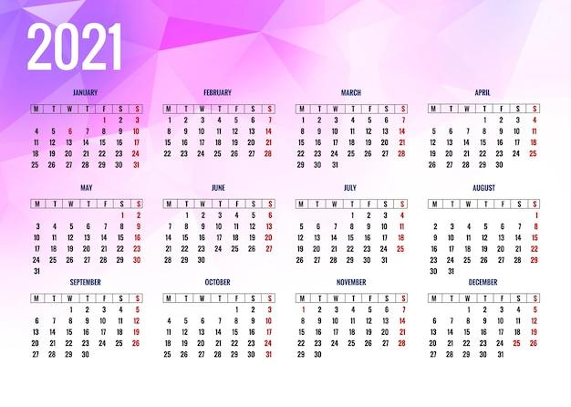 Calendrier 2021 Moderne Pour Fond De Polygone | Vecteur Gratuite