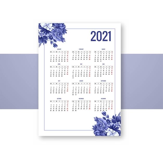 Calendrier 2021 Pour La Conception De Modèle Floral Bleu Décoratif