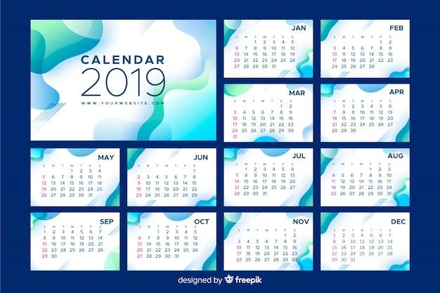 Calendrier abstrait 2019 Vecteur gratuit