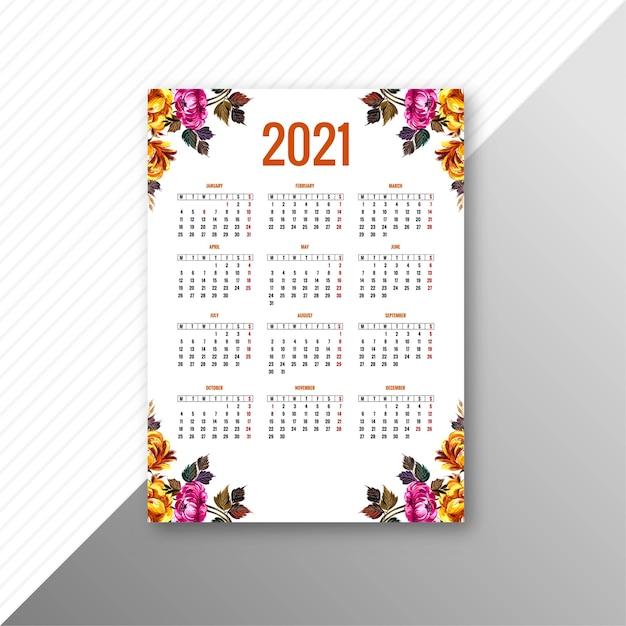 Calendrier Abstrait 2021 Pour Modèle Floral Décoratif | Vecteur