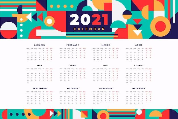 Calendrier Abstrait Nouvel An 2021 Vecteur gratuit
