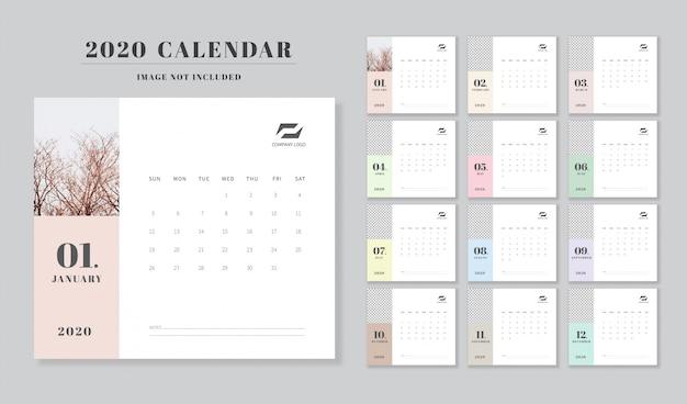 Calendrier Agenda 2020 Vecteur Premium