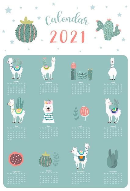Calendrier Animal Mignon 2021 Avec Lama, Alpaga, Cactus Pour Enfants, Enfant, Bébé. Vecteur Premium