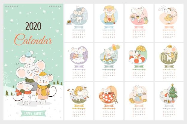 Calendrier de l'année 2020 avec des souris mignonnes en style cartoon dessiné à la main Vecteur Premium