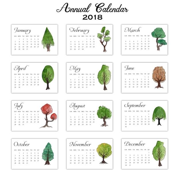 Calendrier annuel des arbres de couleur de l'eau 2018 Vecteur gratuit