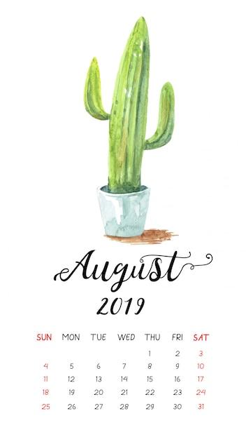 Calendrier Aquarelle De Cactus Pour Août 2019. Vecteur Premium