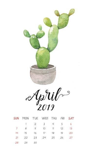 Calendrier Aquarelle De Cactus Pour Avril 2019. Vecteur Premium