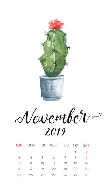 Calendrier Aquarelle De Cactus Pour Novembre 2019. Vecteur Premium