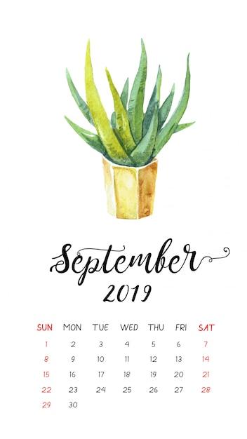 Calendrier Aquarelle De Cactus Pour Septembre 2019. Vecteur Premium