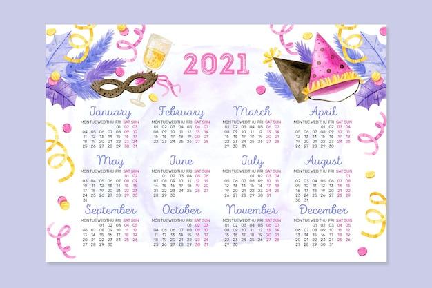 Calendrier Aquarelle Nouvel An 2021 Vecteur gratuit