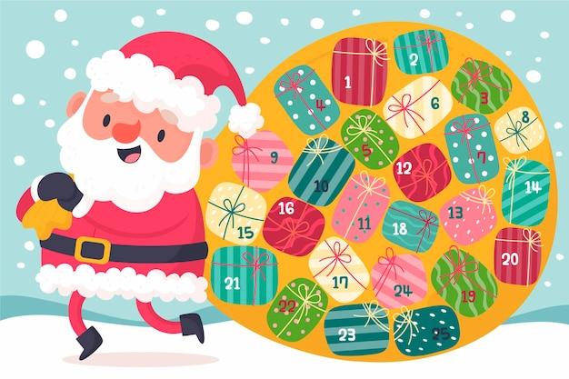 Calendrier De L'avent Créatif Avec Le Père Noël Vecteur gratuit