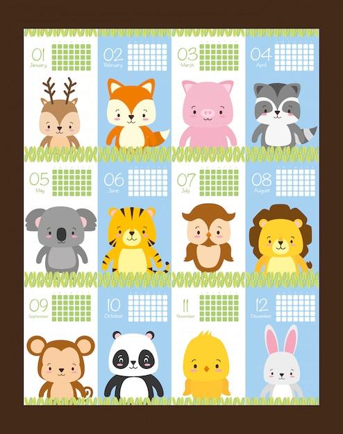 Calendrier de beauté et mignon avec des animaux, illustration Vecteur gratuit
