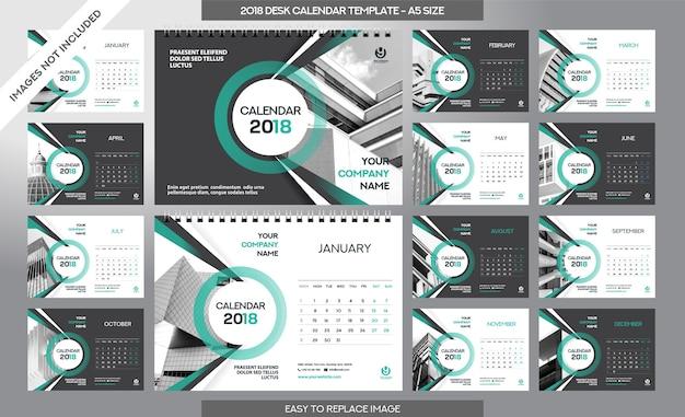 Calendrier De Bureau 2018 - 12 Mois Inclus - A5 Taille Vecteur Premium
