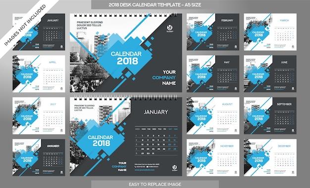 Calendrier De Bureau 2018 - 12 Mois Inclus - Taille A5 - Thème Art Brush Vecteur Premium