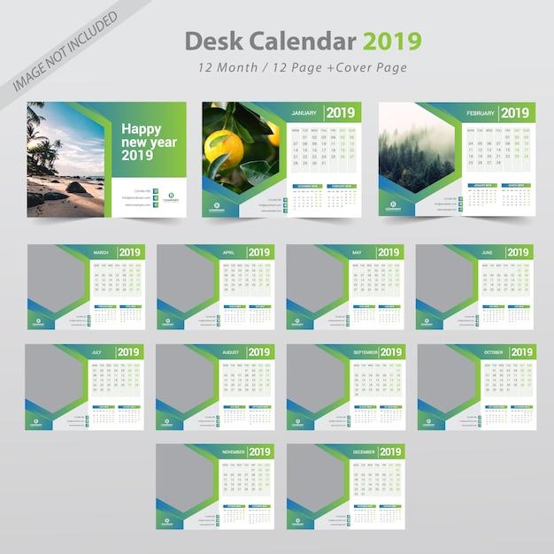 Calendrier de bureau 2019 Vecteur Premium