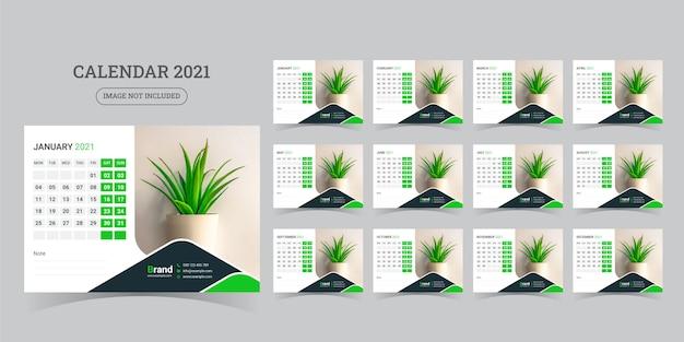 Calendrier De Bureau 2021 Vecteur Premium