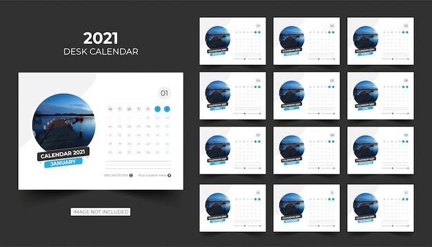 Calendrier De Bureau, Calendrier De Table 2021 | Vecteur Premium