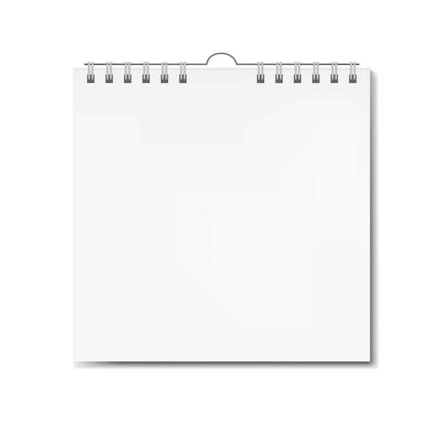 Calendrier carré réaliste sur spirale Vecteur Premium