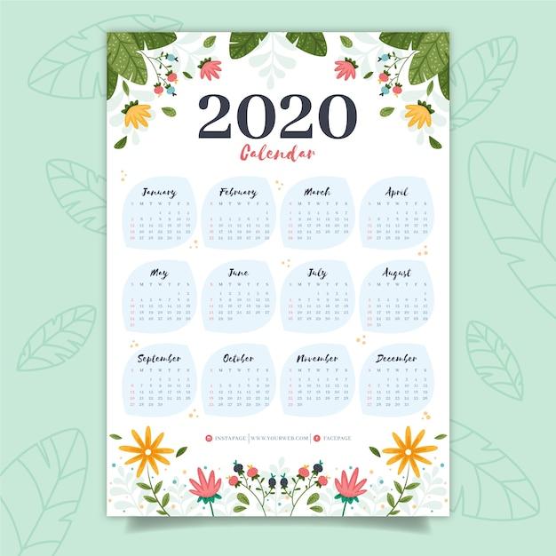 Calendrier coloré 2020 Vecteur gratuit
