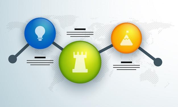 Calendrier coloré disposition d'infographie avec 3 étapes. Vecteur Premium