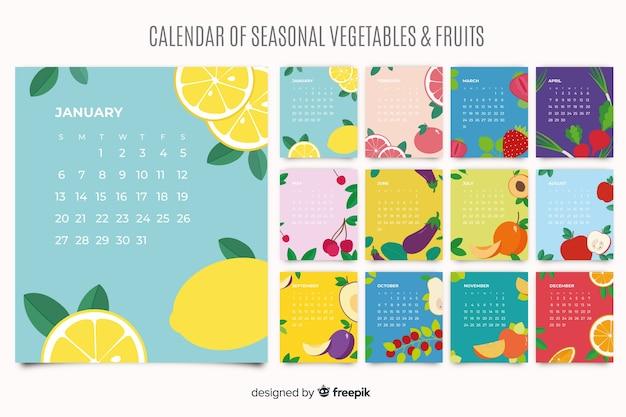 Calendrier coloré de fruits et légumes de saison Vecteur gratuit