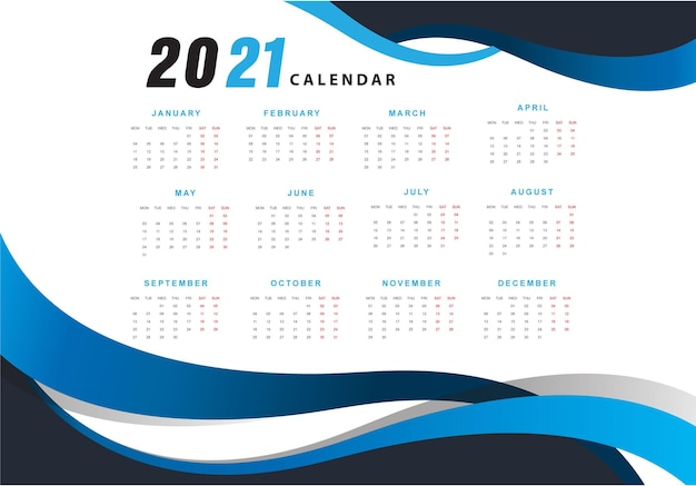 Calendrier De Conception Blue Wave 2021 Vecteur gratuit